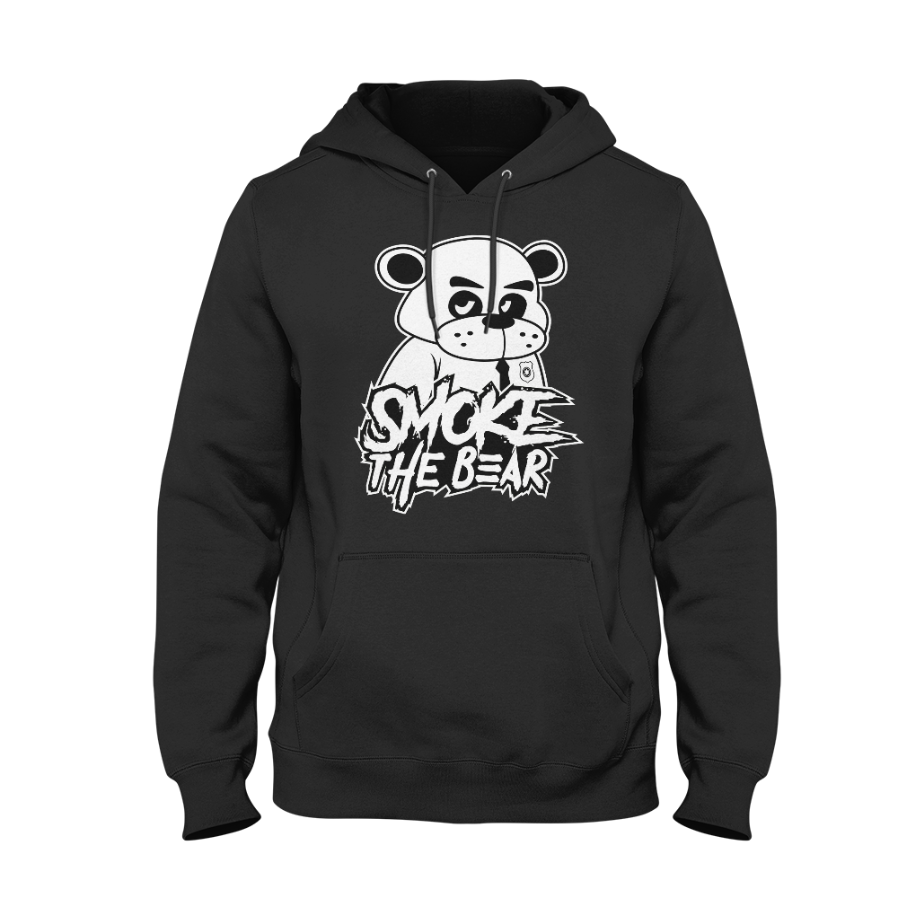 White Bear with Text Black Hoodie