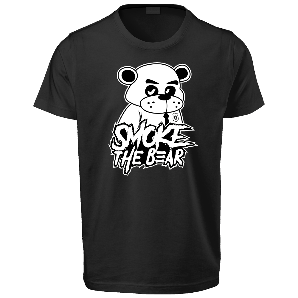 White Bear with Text Black T-Shirt